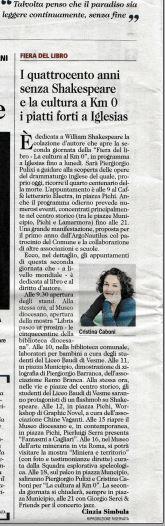 Unione Sarda 23.04.16